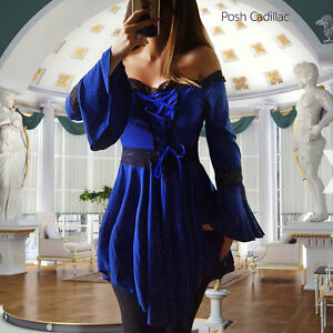 e7338212b4 Blue Black Lace Cabana Bell Sleeve Corset Top Dress Victorian Gothic ...