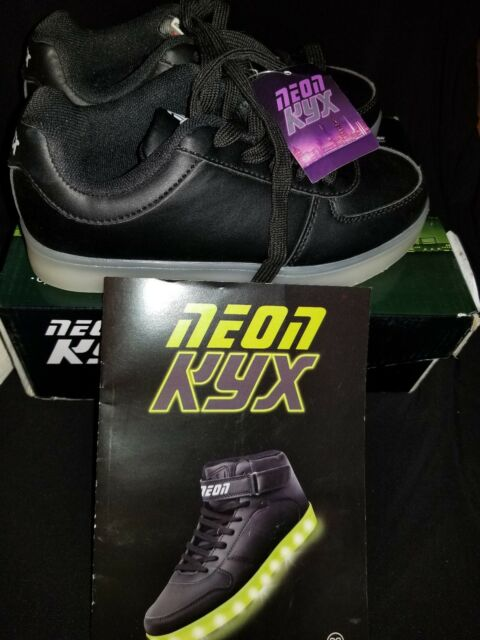 b9568190 NEW Y-Volution Youth Neon KYX Multi-Colored Light Up Black Low Top Shoes