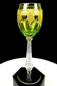 "MOSER BOHEMIAN GREEN GILT SCROLL ART NOUVEAU DIAMOND STEM 7 3/4"" WINE HOCK 1890"