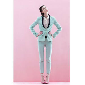 Image is loading Mint-Green-Formal-Ladies-Suits-Slim-Womens-Business- 870ba8dc4fd8