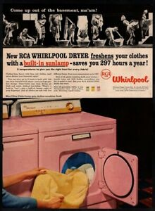 1957-RCA-WHIRLPOOL-DRYER-Pink-Towels-Housewife-Washing-Retro-VINTAGE-AD