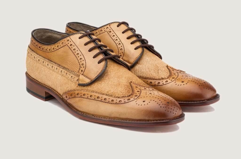 Hecho a mano para hombres Cuero Genuino & Oxford Brogue punta del ala Formal Zapatos De Gamuza