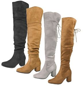5d5f59275bfe Womens Over The Knee Thigh High Boots Faux Suede Low Block Heels ...