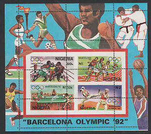 Nigeria-302-1992-Barcelona-Olympics-1st-issue-m-sheet-MAJOR-PERF-ERROR-u-m
