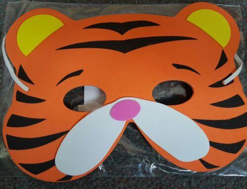 20 CHILDREN/'S SOFT FOAM TIGER DRESSING UP FACE MASKS FANCY DRESS