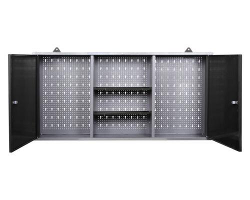 Ondis24 Werkstatt Set 240cm Werkbank Metall 2x Werkzeugschrank Lochwandhaken LED