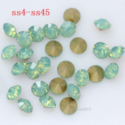 Ss4-ss38 Verde Ópalo señaló Trasera Cristal Pedrería Joyas Chatons Strass