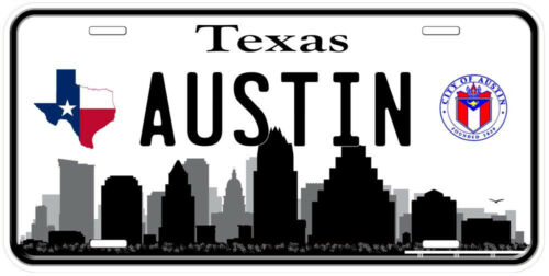 Austin TX B/&W Aluminum Novelty Car Tag License Plate