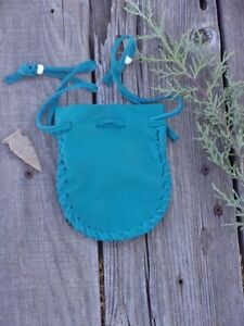 Turquoise-blue-leather-drawstring-pouch-Leather-crystal-bag-Drawstring-medic