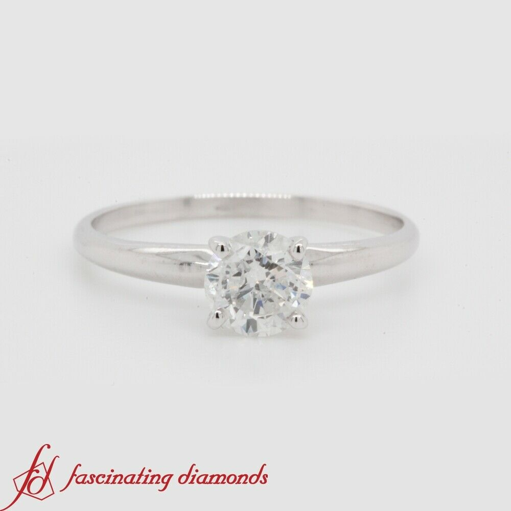3 4 Carat Round Cut Diamond Simple Solitaire Engagement Ring In 10K White gold