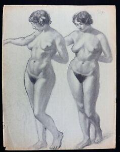 Grosse-Studie-Zur-Kohlezeichnung-Unterzeichnet-Kuehn-Circa-1930-Frau-Akt-Periode