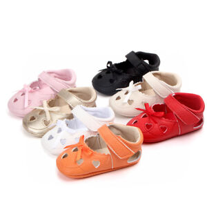 Newborn Baby Girls Leather Sandals Toddler Prewalkers Kids Soft Crib Sole Shoes