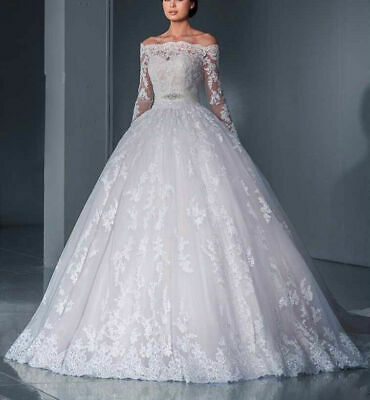 White Ivory Off Shoulder Long Sleeve Wedding Dresses Lace Ball Gown Bridal Gowns Ebay