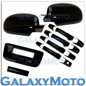 07-13 GMC Sierra Gloss Black Full Mirror+4 Door Handle+Tailgate no KH CM Cover