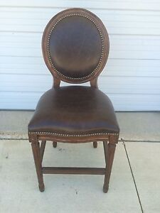 Frontgate Langston Counter Height Brown Leather Barstool