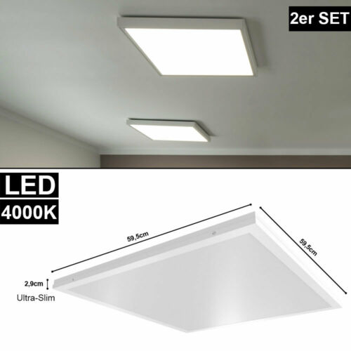 2er Set LED Aufbau Decken Lampe Einbau Schlaf Zimmer ALU Panel Leuchte weiß