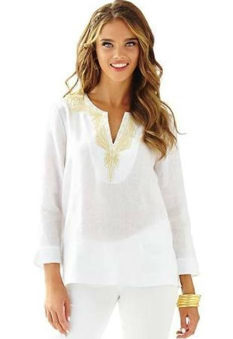 New Lilly Pulitzer Amelia Island Linen Tunic Blouse Top Weiß Gold Cording S M L