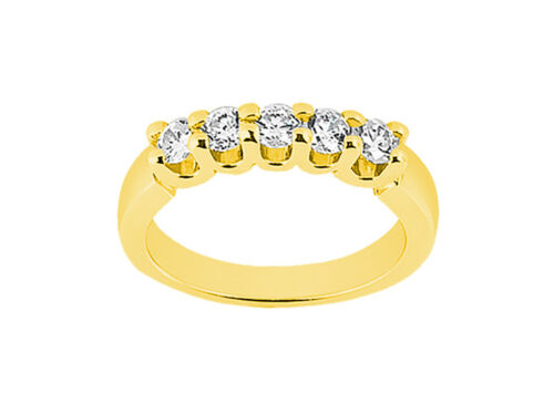 5Stone I SI2 2.00ct Diamond Wedding Band Ring U Prong 18k Yellow Gold Round Cut