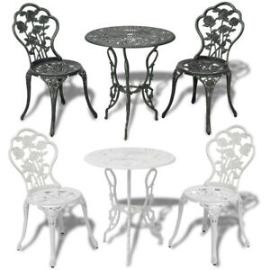 Outdoor Patio Furniture 3pcs Cast Aluminum Bistro Set Antique Rose