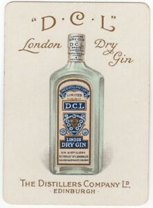 Playing-Cards-1-Swap-Card-Old-Antique-Wide-Advertising-DCL-LONDON-DRY-GIN-Bottle