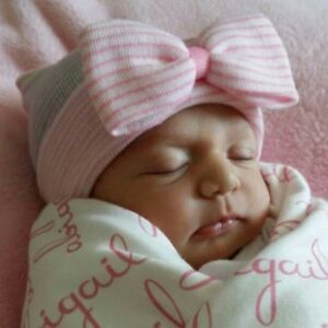 Newborn-Baby-Hats-Cotton-Beanie-With-Bow-Soft-Knit-Striped-Infant-Hospital-Caps
