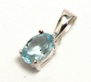 Sky-Blue-Topaz-Pendant-Sterling-Silver-Genuine-0-82-carat-Small
