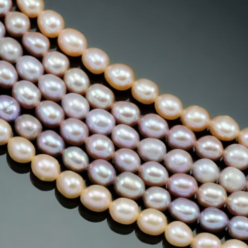 Cultured Freshwater Pearls 5-6 mm Mauve Dusty Peach Rose Riz Ovale Loose Beads