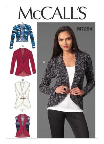 McCalls SEWING PATTERN M7254 Misses Cardigans XS-M Or L-XL