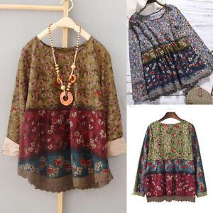 ZANZEA-Women-Long-Sleeve-Floral-Print-Casual-Shirt-Tops-Round-Neck-Blouse-Plus