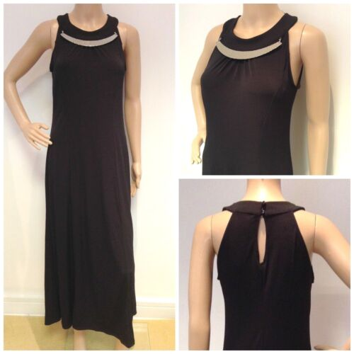 NEW EX EVANS BLACK NECKLACE DETAIL LONG DRESS SIZE 16 18 20