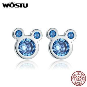 Wostu-925-Sterling-Silver-Cartoon-Mouse-Head-Earring-Stud-with-Blue-AAA-Zircon