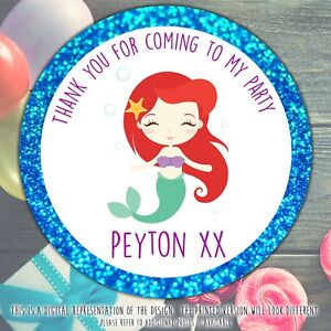 Personalised-Mermaid-Birthday-Party-stickers-round-labels-party-cone-sheet