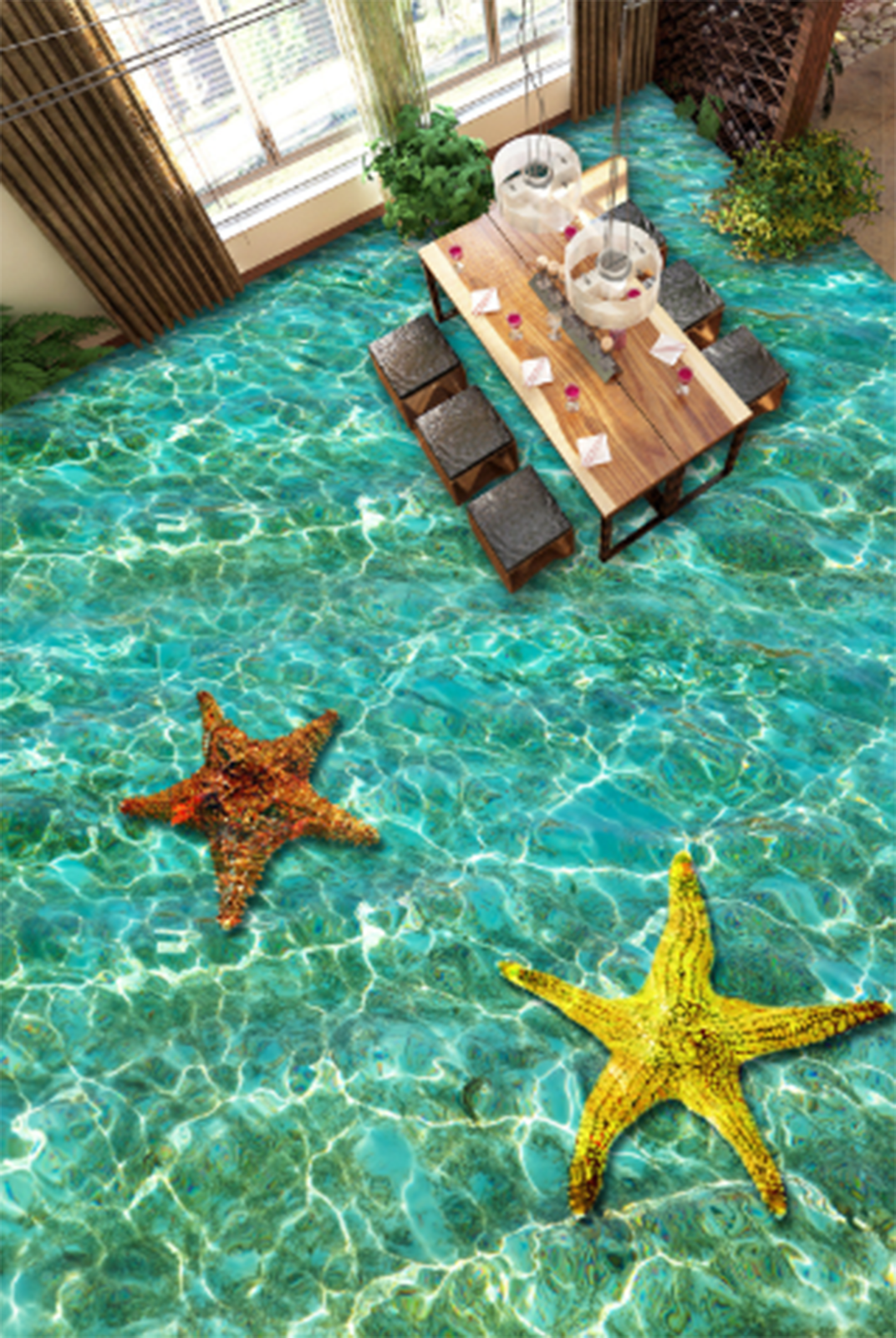 3D Starfish 615 Fototapeten Wandbild Fototapete Tapete Familie DE Lemon