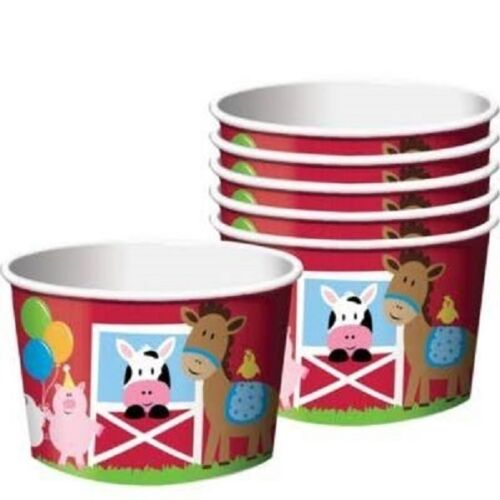 6 Farm House Fun 9 Ounce Treat Cups Table Decorations Barnyard Birthday Party OO