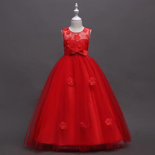 Flower Girl Bow Lace Princess Dress Kids Party Wedding Bridesmaid Formal Dress