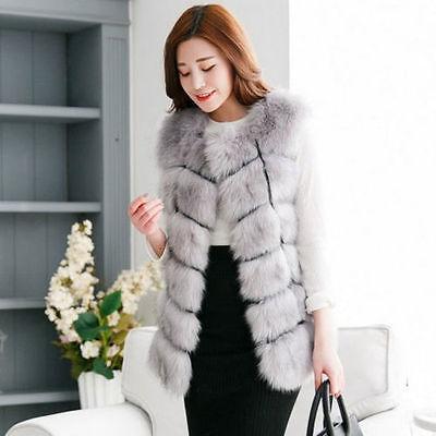Lady Warm Gilet Outwear Long Slim Vest Faux Fox Fur Waistcoat Jacket Coat