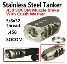 Stainless Steel .458 SOCOM 5/8x32 Tanker Competition Muzzle Brake,W Crush Washer