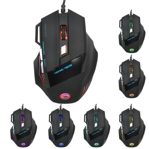 Lot 2 LED Optical 5500 DPI 7 Button USB Wired Gaming Mouse Mice For Pro Gamer PC