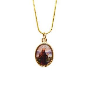Catholique St.francis Image Médaille Pendentif Or Couleur Collier 43.2cm Chaîne Ugehlv30-08003058-828796889