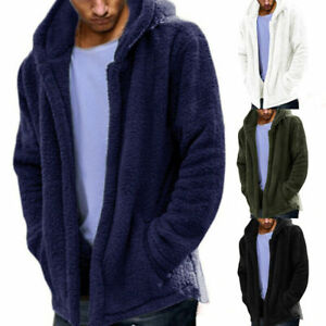 Mens-Long-Sleeve-Hooded-Hoodie-Sweatshirt-Winter-Warm-Fleece-Fur-Jacket-Coat