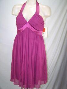 Maggy-London-Purple-Halter-V-Neck-100-Silk-Prom-Dress-Womens-Size-12-Large