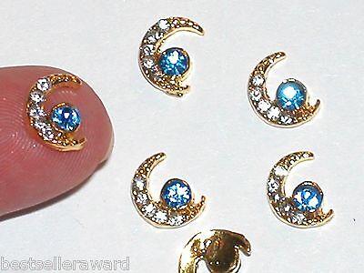 2pc Miniature Dollhouse TINY little crystal Blue Moon bail findings flatbacks GD