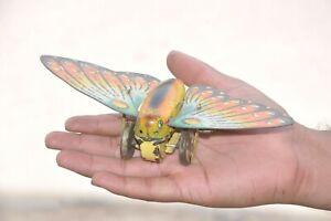 Vintage-Wind-Up-Litho-Butterfly-Moth-Litho-Tin-Toy-Japan-Germany