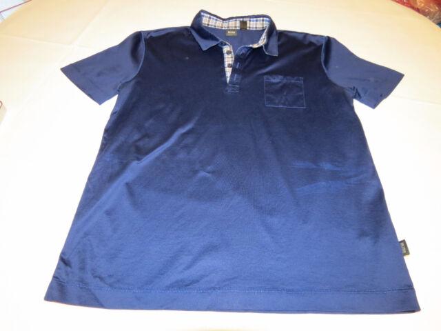 Mens Hugo Boss L Dark Blue short sleeve polo shirt cotton casual EUC@