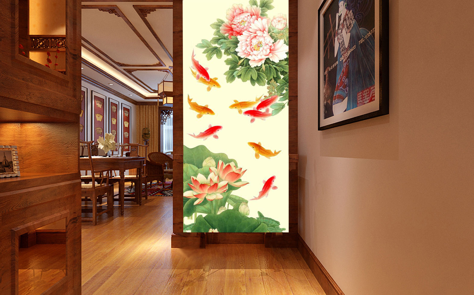 3D Fische, Lotus 66 Fototapeten Wandbild Fototapete Bild Tapete Familie Kinder