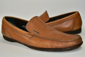 Ermenegildo-Zegna-Mens-Brown-Leather-Loafers-Dress-Shoes-Size-12-D-Slip-On-WEAR