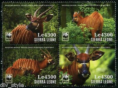 Persevering Wwf Western Bongo Antelope Block Of 4 Mnh Stamps 2014 Sierra Leone #3207 Durable In Use Stamps Animal Kingdom