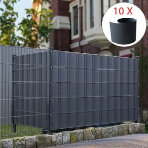 10x hart pvc sichtschutz anthrazit sichtschutzstreifen doppelstabmattenzaun ebay. Black Bedroom Furniture Sets. Home Design Ideas