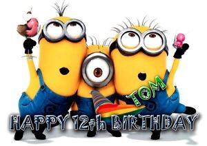 Image Is Loading Personalised Birthday Card Despicable Me MINION MINIONS Any