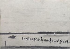Paul-Westerfrolke-1886-1975-Dibujo-Zwischenahner-Mar-Barco-Fechado-Gutersloh
